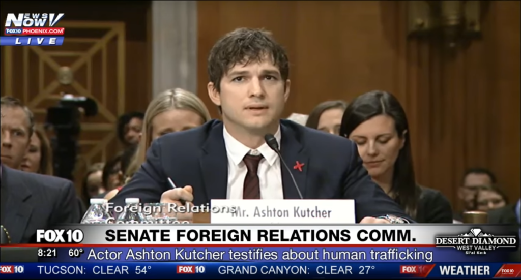 Emotional Ashton Kutcher Implores Congress to Act on Child